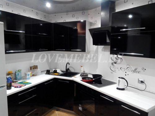Угловая черно-белая кухня фото (1)