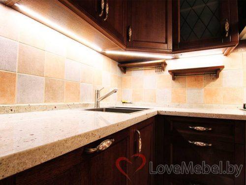 Угловая кухня из массива сосны Калелья (3)