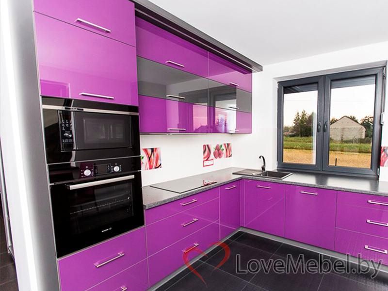 Фиолетовая угловая кухня из пластика Пилас (1)