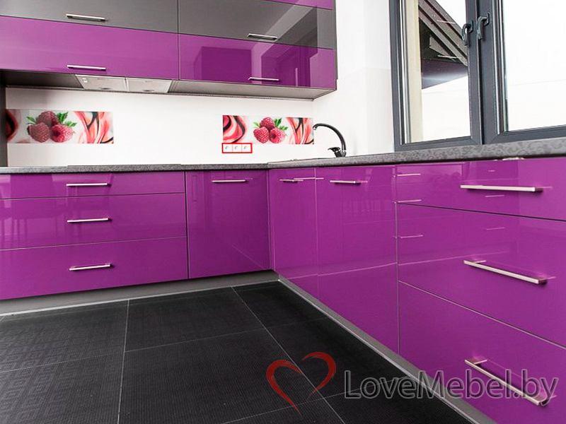 Фиолетовая угловая кухня из пластика Пилас (2)