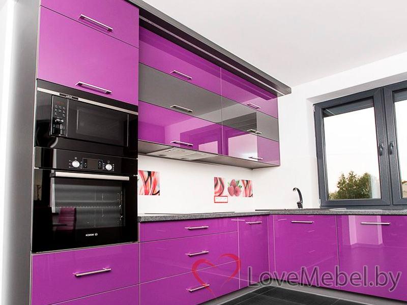 Фиолетовая угловая кухня из пластика Пилас (3)