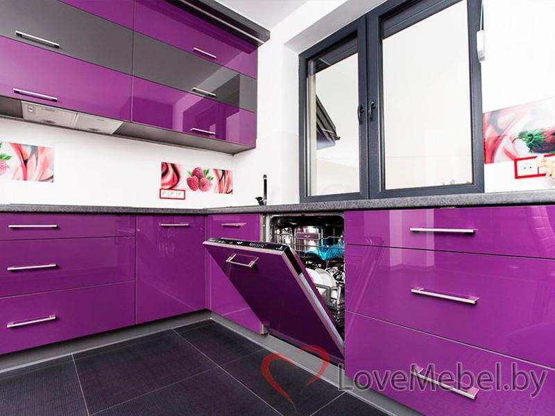Фиолетовая угловая кухня из пластика Пилас (4)