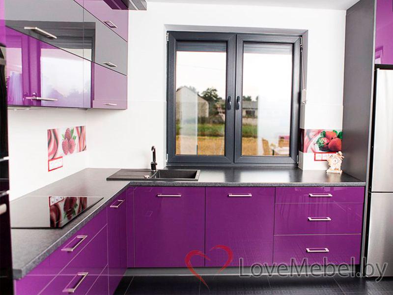Фиолетовая угловая кухня из пластика Пилас (5)