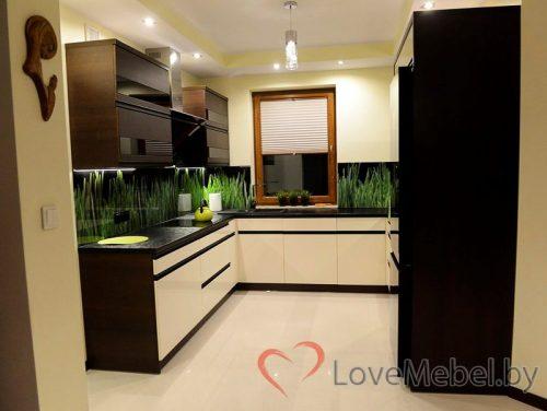 Бело-черная кухня под окно Мольо (1)